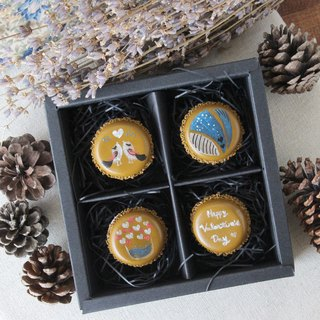 Together four original original hand-painted chocolate macaron magnet gift box lover wedding birthday gift