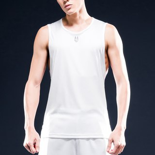 AquaTouch InstaDRY Men's Sleeveless Low-neck Slim Fit Training T-White