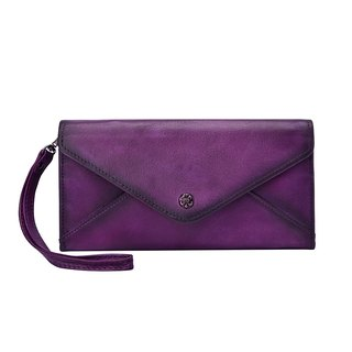 Handmade Genuine Leather Wallet Long with wrist strap - Purple