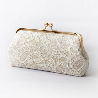 Handmade Clutch Bag in Champagne and Ivory  | Gift for Bridal, Bridesmaids, | Alencon Paisley Lace