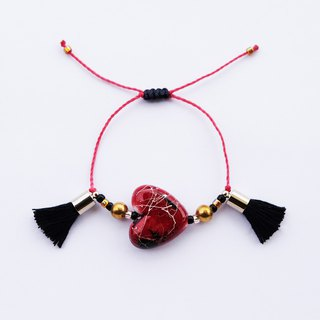 Red wine hand-painted heart black tassel string bracelet