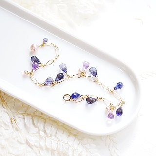 Magic purple satin gorgeous multi-stone bracelet cordierite amethyst exquisite cut surface shiny 14K temperament