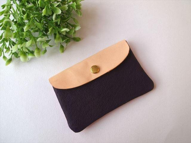 Pig leather soft card case [hand-dyed leather pass case] 168002
