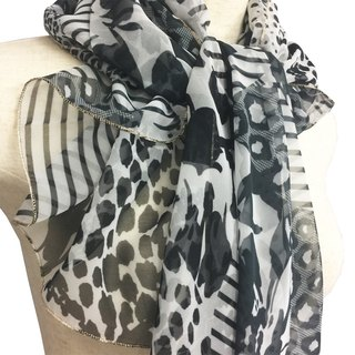Ballett multi animal print pattern chiffon scarf made in Japan