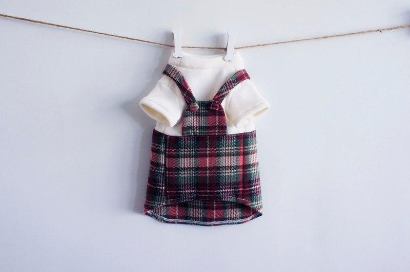 可訂製。聖誕風刷毛吊帶 寵物衣