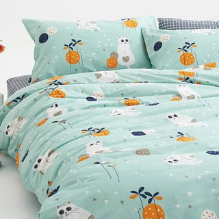 Huatian 喵 pillowcase + quilt cover two sets of single double original hand-painted cat 40 cotton bed package optional