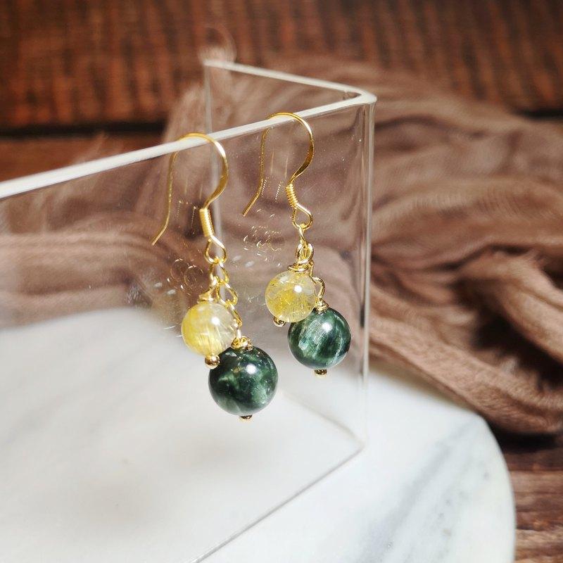 天然綠龍晶 鈦晶耳環