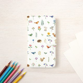 "Fragments of a picture book. Handbook type smart case ""Multicolored flowers and animals"" TSC-92"