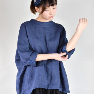 Autumn and winter short version of the shoulders shirt dark blue