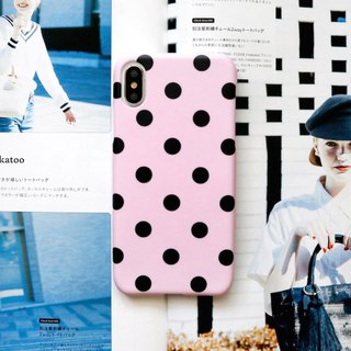 Pink black dot phone case
