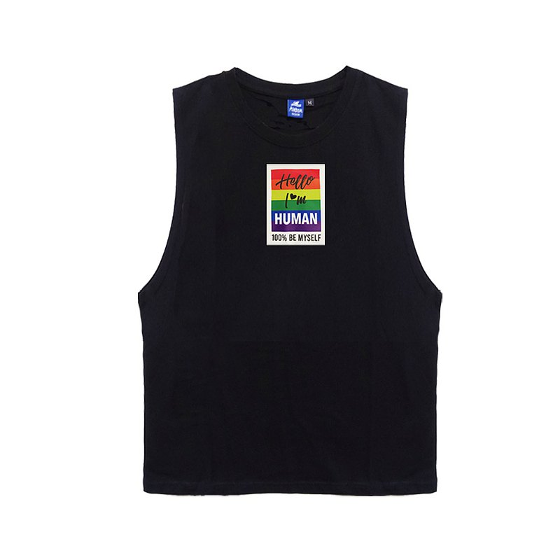 Rainbow Negative Wide Shoulder Vest-Black (flexible and quick-drying)