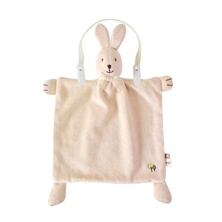 [SISSO organic cotton] colored cotton coffee coffee rabbit comfort handkerchief towel + multipurpose bibs clip group