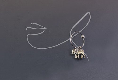 Elephant 925 silver single earrings