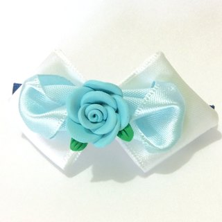 Kanzashi ribbon fimo clay flower bow hair clip blue white hair accessories(つまみ細工)