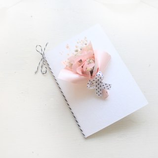 Flower bud sweet dry flower card - pink