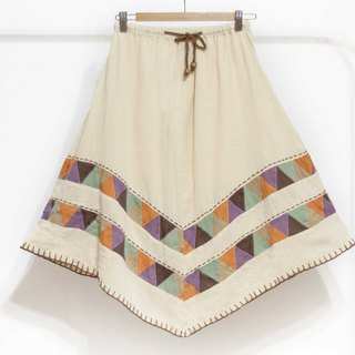 Cotton and linen embroidery skirt / ethnic skirt / color cotton skirt skirt / handmade patchwork skirt - color triangle forest
