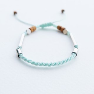 Light mint twisted rope adjustable bracelet unisex bracelet