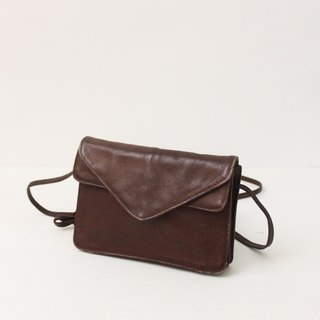 Retro European 80s leather simple out bag brown side back antique bag Vintage Bag