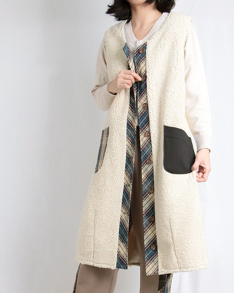 Beige plush long vest #A3040-1