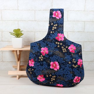 Carrying bag with a wrist bag - Peony (blue)