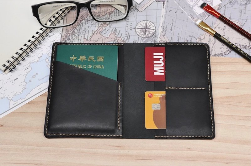 Passport sleeve leather hand-made Monarch black multicolor optional free lettering and packaging