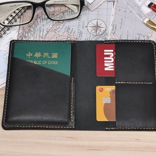 Italian leather handmade passport cover Monarch black leather free customized lettering