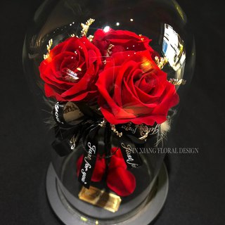 Valentine's Day, eternal life, no flowers, three roses, I love you, dry eternal impression, FloralDesign
