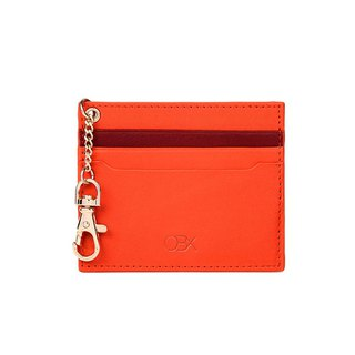 OBX 2-Tone Cardholder with Key Chain, Orange/Raisin