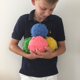 Spain Oli & Carol | Colorful Tactile Ball - Blue | Natural Non-toxic Rubber Gear / Bath Toys / Green Toys