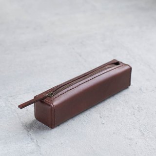 Dark brown leather pen case