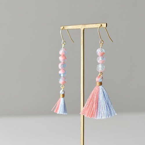 Tassel earrings water drop /pink