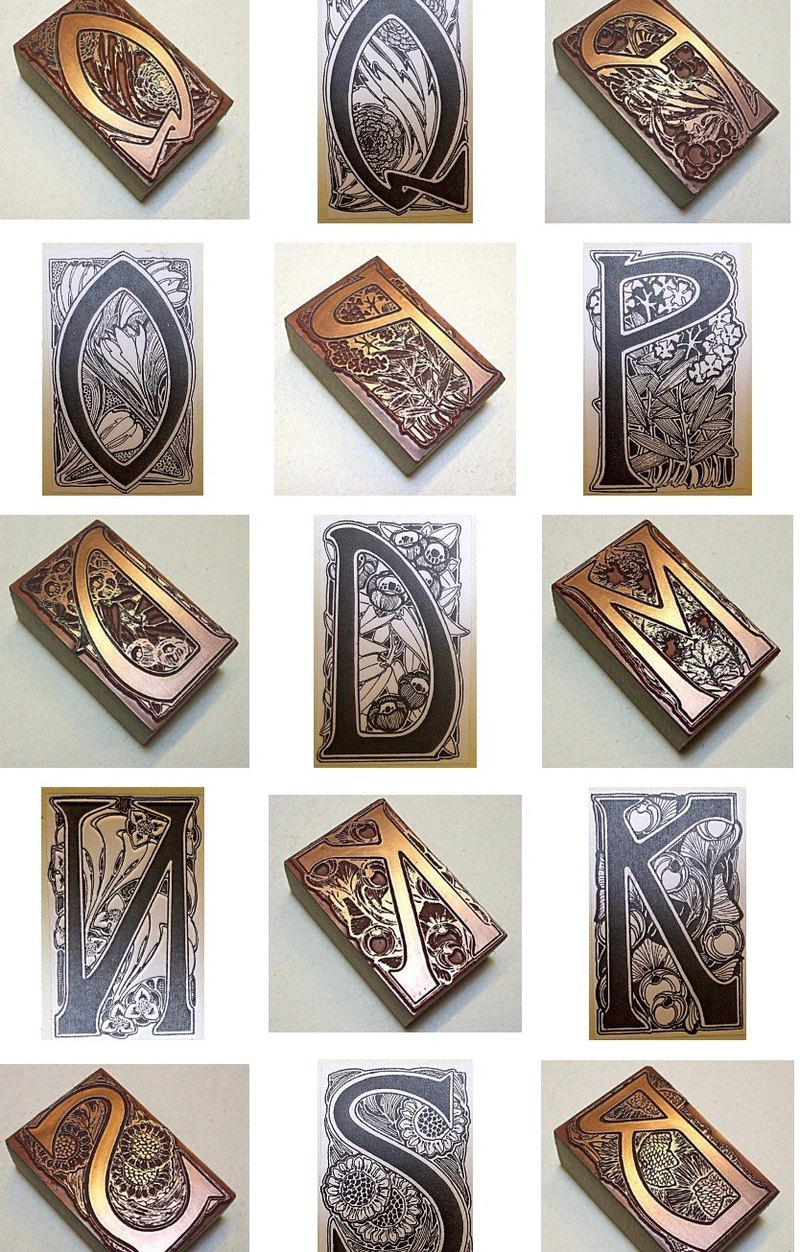 Pre-ordered British antique letter printing block AZ Art Nouveau letter piece for sale