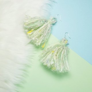 Mixed knit fringes earring (Pastel Green/Pastel Pink/Off White/Yellow)