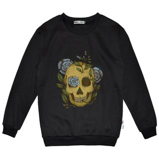 British Fashion Brand -Baker Street- Blue Rose & Skull Printed Sweater