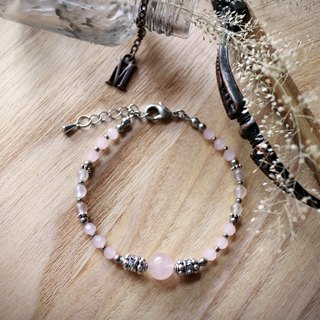 Muse Fashion Series NO.12 Mother's Day pink rose quartz natural stone ornate silver bracelet