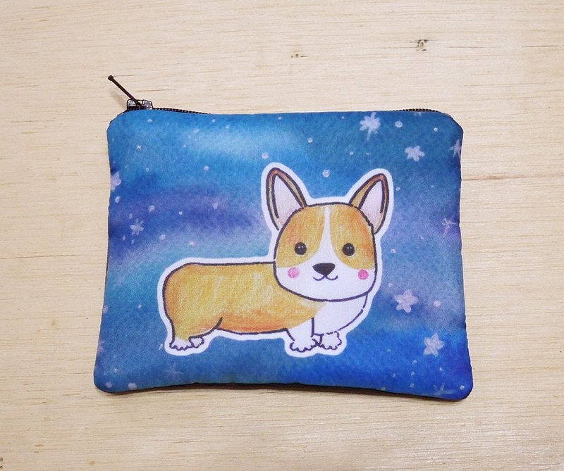 Customizable {name} handwriting style pattern painted watercolor rendering yellow Corgi Wallets wallet card package