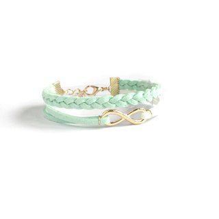 Handmade Double Braided Infinity Bracelets Rose Gold Series–light green limited