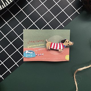 Littdlework Small Animal Pin Badge | Wax Dog