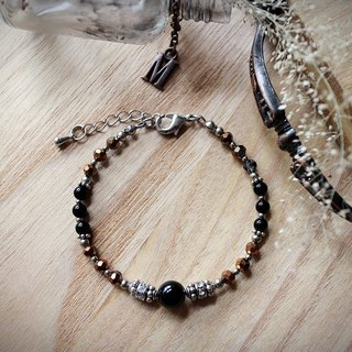Muse Fashion Series NO.17 Mother's Day natural stone black onyx ornate silver bracelet