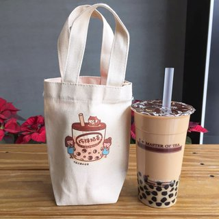 Pearl milk tea cat の daily canvas beverage bag (ice dam cup) hand-printed Canvas bag