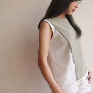 Urban Breeze - Asymmetrical Color Tank Top // Grey Green