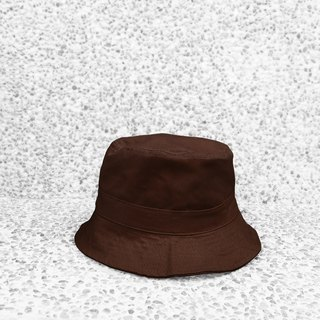 Extremely simple cotton double-sided hand-top flat fisherman hat - deep coffee