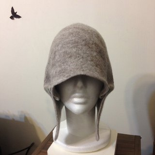 Round wool felt hat cover ears (undyed wool gray colors)