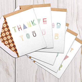 English text tile wool paper greeting card