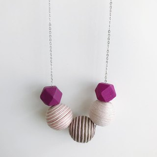 Pink Purple Wooden Ball Necklace Birthday Gift Bridesmaid Gift Bridal Shower