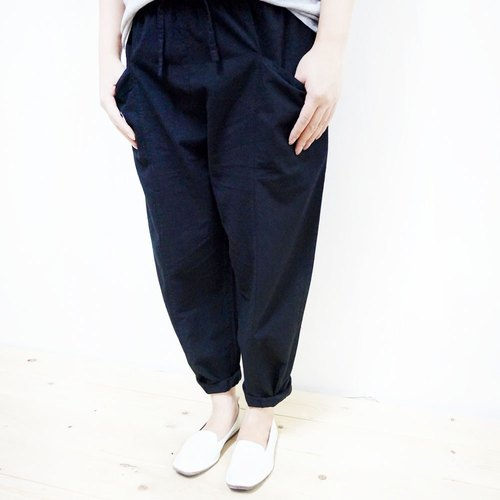 Cotton comfortable wide-leg straight pants / black