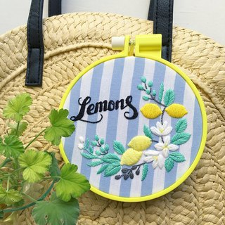 Lemons & Olives - Embroidery Hoop Kit