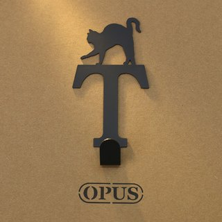 [OPUS Dong Qi Metalworking] When the cat met the letter T - hook (black) / wall hanging hook / furniture rack / life storage / hanger / style hook / no trace / HO-ca10-T (B)