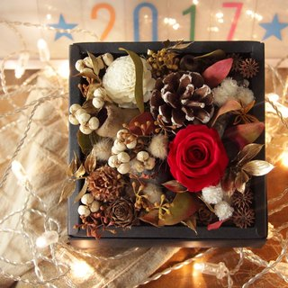 is Flower / Christmas red rose pine cone box