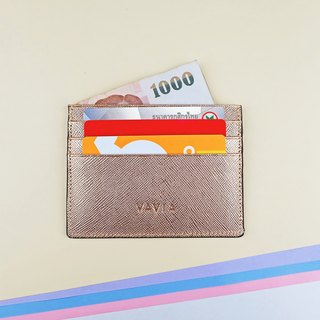 """Pink Gold"" Cow Leather Card Holder"